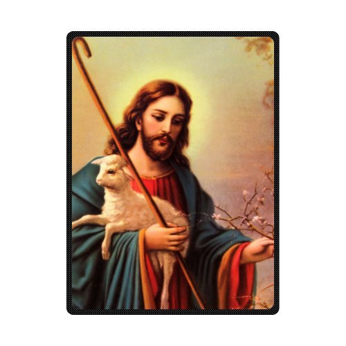 Stylish Jesus Blessing Christian Theme Soft Fleece Blankets and Throws, Travel Blanket - 58 by 80 Inch by WECE