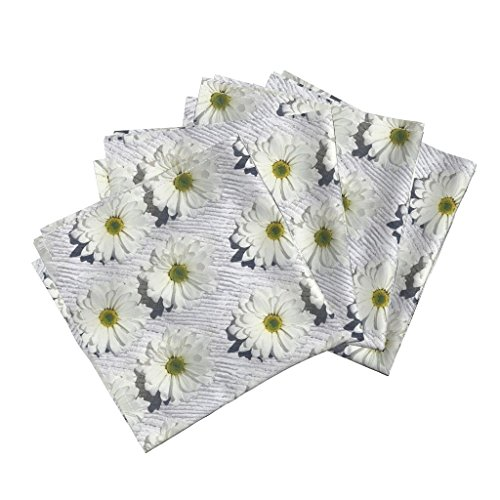 Roostery Daisies Organic Sateen Dinner Napkins Daisies - Natural by Chantal Pare Set of 4 Cotton Dinner Napkins Made