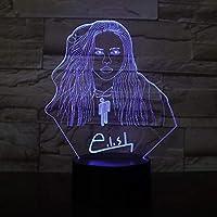 Ilusión 3D Led Lámpara de luz nocturna Billie Eilish Figura ...