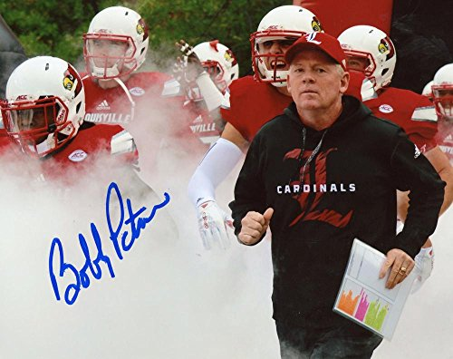BOBBY PETRINO LOUISVILLE CARDINAL COACH SLIGHT SMEAR SIGNED 8X10 PHOTO W/COA