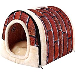 Alalaso Pet Dog Cat Bed House, Warm Soft Mat Bedding Igloo Basket Kennel Washable Snug(Multicolor,S)