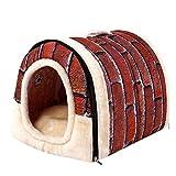 Binmer Pet Dog Cat Bed House Warm Soft Mat Bedding Igloo Basket Kennel Washable Snug (S)
