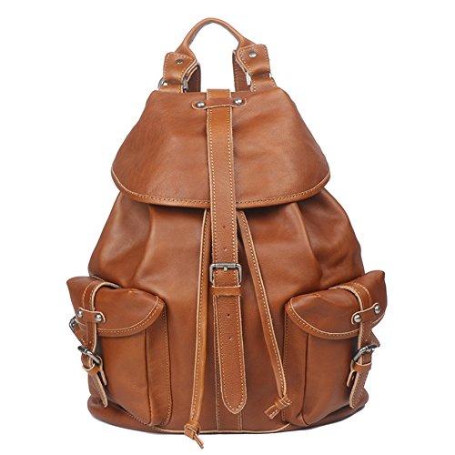Genda 2Archer Genuine Leather Backpack Purse for Men Women (Brown) by Genda 2Archer