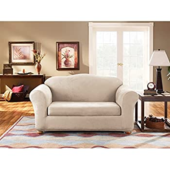 stretch suede separate seat sofa slipcover color oatmeal