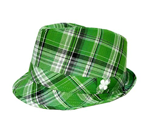 Irish Shamrock Green Plaid Fedora Hat