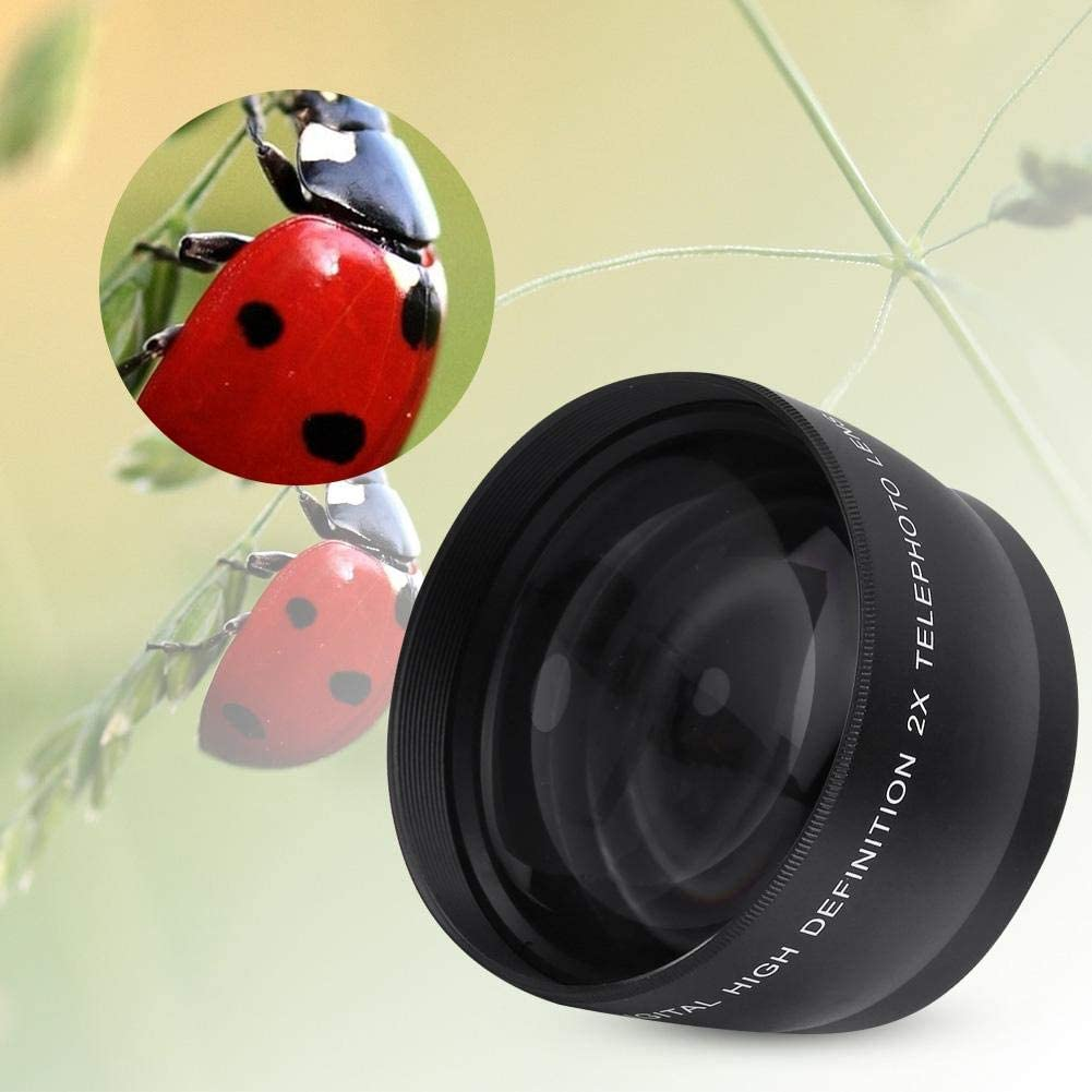 55mm 2X Telephoto Zoom Telephoto Lens Durable Aluminum Alloy Optical Glass Teleconverter Lens Suitable for Any Lens with 55mm Diameter 18-55 Length