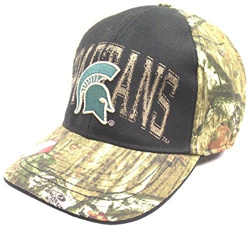 混乱した貼り直す永遠のMichigan State Spartans Mossy Oak Camouflageフレックスフィット帽子