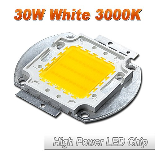 Hontiey High Power LED Chip 30W Warm White Light 3000K-3500K Bulbs 30 Watt Beads DIY Spotlights Floodlight COB Integration Lamp SMD ()