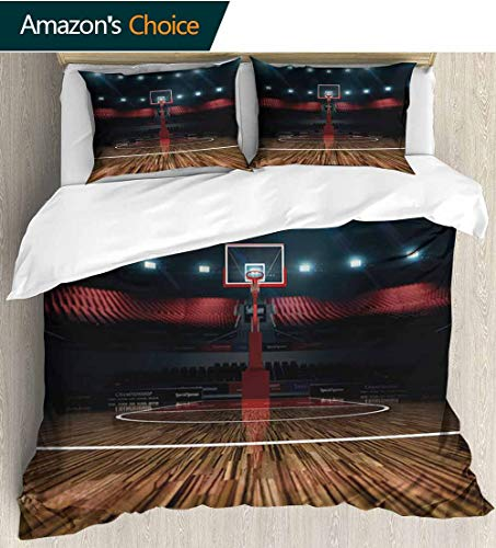 shirlyhome Teen Room Decor Bedding Bedspread,Professional Basketball Arena Stadium Before Game Championship Sports Image Colorful Floral Print - 3 Pieces 104