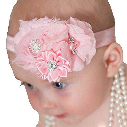 Qandsweet Fille Bébé Tout Bandeaux mousseline Cristal Arcs cheveux (de 6pack)
