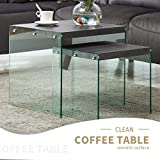 Black Wood Coffee Table with Glass Top Mecor Nesting Table Set of 2 Glass Side End Coffee Table Wood Top Living Room Furniture Black Walnut