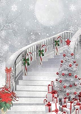 LYWYGG 5X7FT Feliz Navidad Árbol de Navidad Fotografía Fondos Blanco Vuelo Nieve Telones de Fondo de Navidad Escaleras Estudio Prop Prop CP-78: Amazon.es: Electrónica