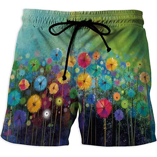 Athletic Shorts Pockets,Waterfall,Men's Board Short Swimwear,Waterfall Pond Flo -