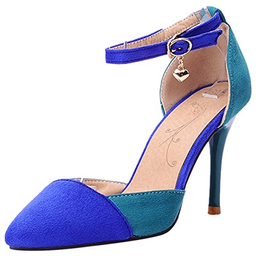 Party Pumps Wedding Strap Ankle TAOFFEN Elegant Blue Shoes Stiletto Ladies 4pqpXHB