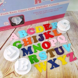 Cake Star Sugarcraft Push Easy Icing Cutters Upper Case Alphabet Set 26 - Cutter Plunger Star