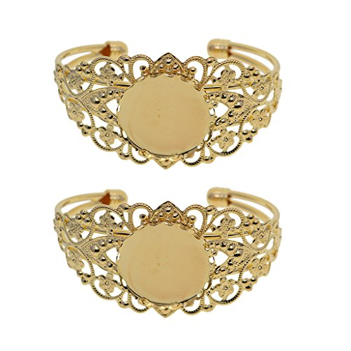Homyl 2 Pieces Round Flower Bezel Adjustable Cuff Bracelet Blank Base Setting Gold 25mm ()