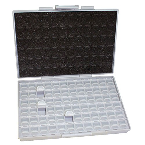 AideTek 72 Lids Enclosure SMD SMT Organizer with Labels