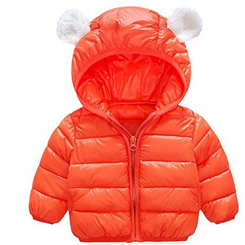ARAUS Traje Abajo Abrigo Bebés Chaqueta Invierno Chaqueta Encapuchado Niños Orejas de Oso Chaqueta (naranja, 90-1~2años)