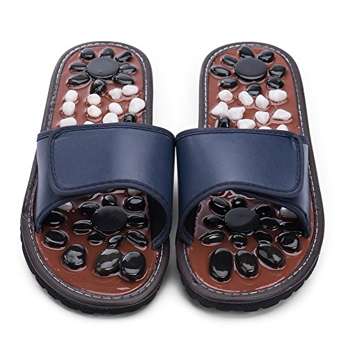 ZEPAN Acupressure Foot Massager Slippers Jade Stone House Sandals Shoes Reflexology for Women Men(Blue29)