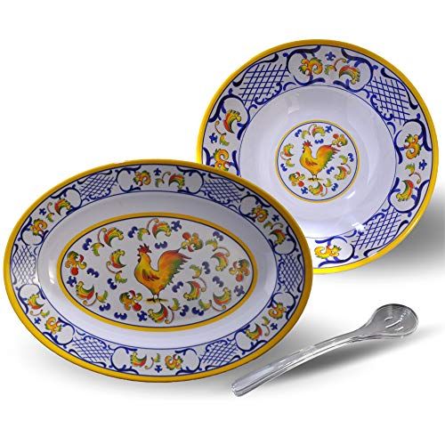 Florentine Style Rooster Platter and Pasta Bowl Set | Includes Set of 2 Serving Spoons