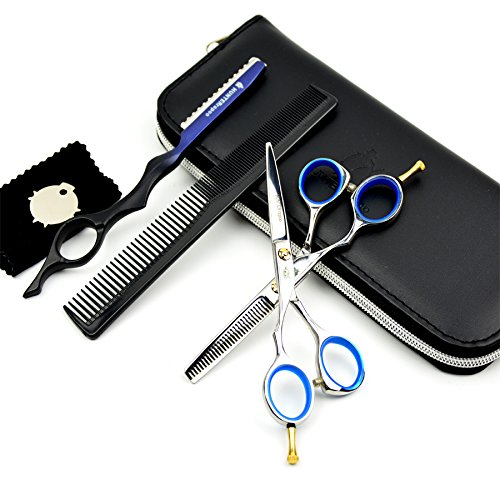 5.5 inch professional hair scissors set hot haircut scissors hair cutting thinning scissors barber left hand shears scissor set no bag by Scissor (Image #3)