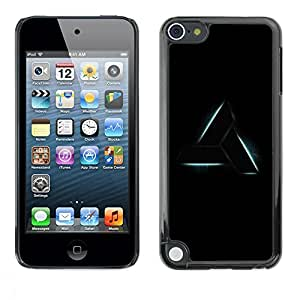 FECELL CITY // Duro Aluminio Pegatina PC Caso decorativo Funda Carcasa de Protección para Apple iPod Touch 5 // Triangle Art Shape Symbol Sign Black