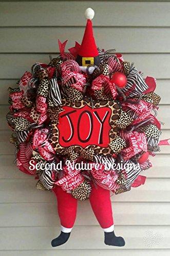 leopard print deco mesh santa leg christmas wreath leopard christmas wreath animal print christmas - Christmas Mesh