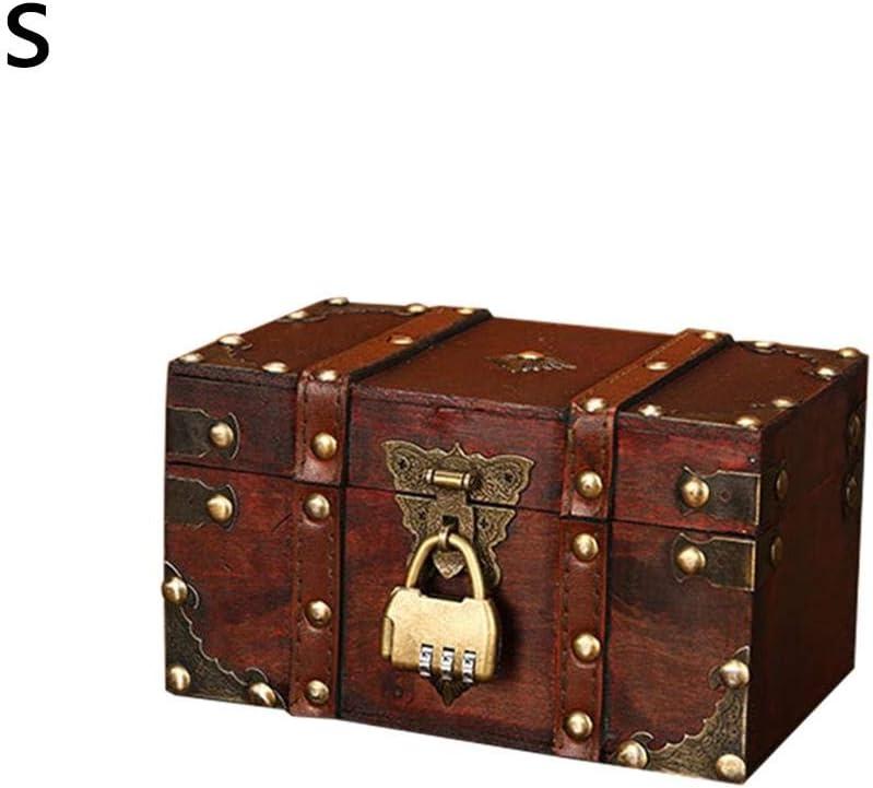 Cineman - Caja fuerte con cerradura de combinación para libros, caja de almacenamiento con cerradura de combinación, cofre decorativo de piel de madera, en 2 tamaños, marrón, 2 Stücke: Amazon.es: Hogar