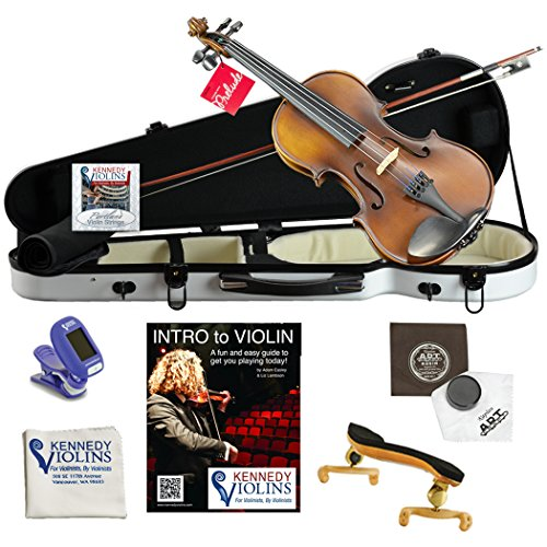 Ricard Bunnel G1 Violin Outfit 4/4 (Full) Size in Hard Shell Case (Bright White) by Kennedy Violins