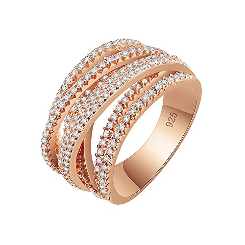 - Lavencious 925 Sterling Silver Statement Ring Intertwined Wide Band Crossover Design Crisscross (Rose Gold, 8)