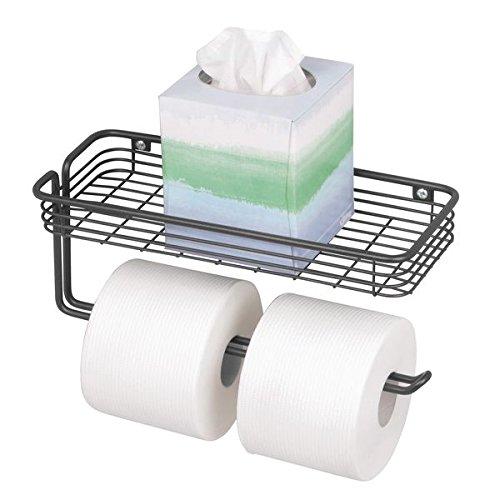 mDesign Toilet Tissue Paper Holder and Multi-Purpose Shelf - Wall Mount Storage Organizer for...