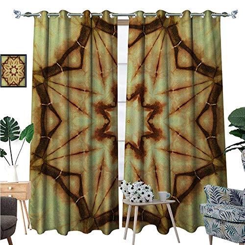 (BlountDecor Mandala Patterned Drape for Glass Door Trippy Ethnic Thai Mandala Motif with Dirty Grunge Smear and Rough Stains Art Waterproof Window Curtain W96 x L108 Mustard)
