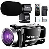 Video Camera Camcorder with Rechargeable Microphone Ultra HD 1080P Vlogging YouTube Camera Camcorder