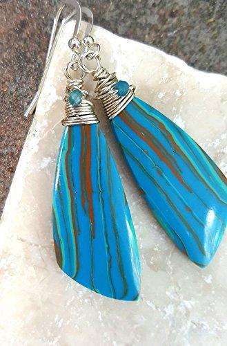 Rainbow Jasper & Apatite Earrings, Sterling Silver Wire Wrapped