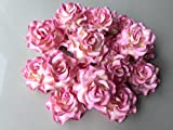 12 pcs Big Rose Pink Color Mulberry Paper Flower 50-55 mm Scrapbooking Wedding Dollhouse Supplies Card by' Thai Decorated