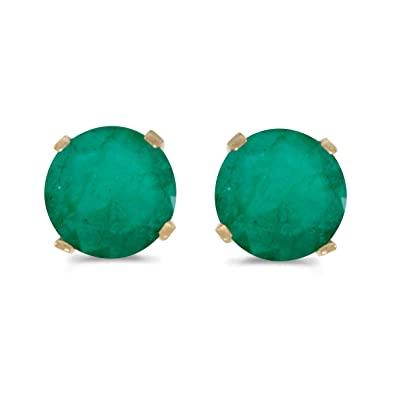 376c35c95f021 5 mm Natural Round Emerald Stud Earrings Set in 14k Yellow Gold