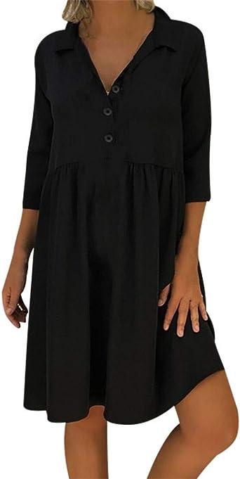 Bukinie Robe D Ete Femme Grande Taille Robe Tunique Coupe Ample Manches 3 4 Longueur Au Genou Bouton Elegant Noir Small Amazon Fr Montres