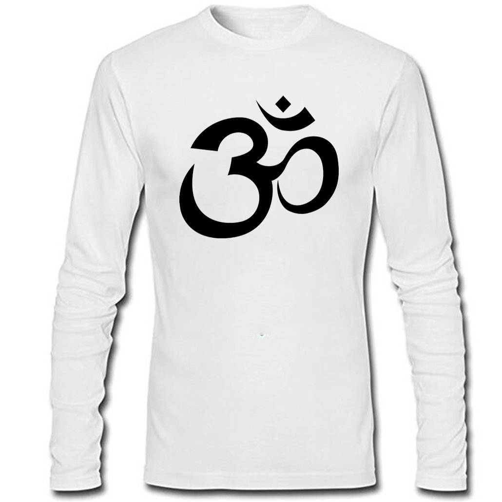 Huntifly Mens Yoga Aum Om Ohm India Symbol Long Sleeve Shirt