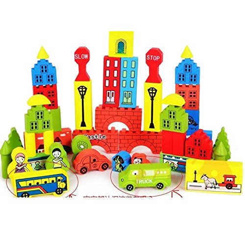 color printing castle building blocks children's wooden e...