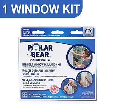 Polar Bear Weatherproofing Standard 1 Window Insulation Film Kit - 64 Inch x 42 Inch - Crystal Clear Film