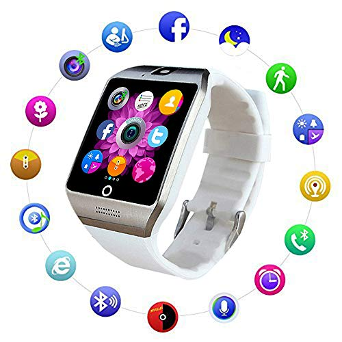 Bluetooth Smart Watch Fitness Tracker - Sport Watch Touch Screen with Camera Pedometer Sleep Monitor Call/Message Reminder Music Player Anti-Lost - Compatible Android Smartwatches (White)