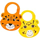 Animal Friends Silicone Baby Bib, Set of 2 :: Waterproof Silicone Bib with Pocket to Catch Food & Drool :: Easy Care, Washable, Dishwasher Safe :: Unisex with Tiger & Giraffe Prints by Walabi