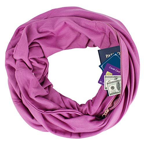 Zipper Pocketed Travel Scarf,Infinity Scarf with Pocket (Lavender)