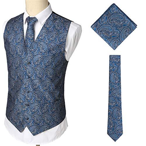 Les Parti Gilet Marié Mariage Convient Costume Place Pour Le Pragmaticv Cravate De 3pcs Hommes Poche Blue 5xRqI
