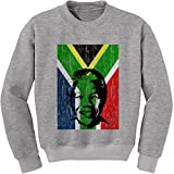 Expression Tees Crew Nelson Mandela South Africa Flag Adult Medium Heather Grey