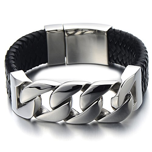 Unique Mens Stainless Steel Curb Chain and Genuine Braided Leather Bracelet with Spring Box Clasp (Leather And Chain Bracelet)