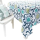 country kitchen tablecloths ColorBird Country Style Washable Tablecloth Flower Garden Pattern Polyester Table Cover for Dining Kitchen Living Decorative Tabletop Linen Decor (Rectangle/Oblong, 55 x 95 Inch, Secret Garden)