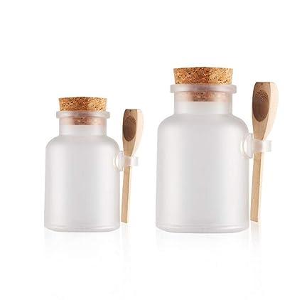 2pcs 100g/200g 3,4oz/7oz transparente redondo esmerilado plástico dispensador de sal