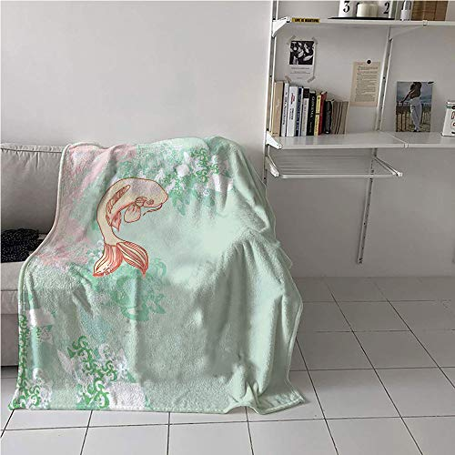 WodCht Japanese Stroller Blanket,Koi Longfin Gurnard Fish Swimming Pale Complex Customized Sea Backdrop Image,Soft Blanket Microfiber,Digital Printing Blanket 60
