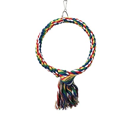 Cotton Ropes Parrot Hanging Stand Bite Swing Toy With Bell Bird Cage Accessory Bird Supplies Available In Various Designs And Specifications For Your Selection Home & Garden Bird Supplies